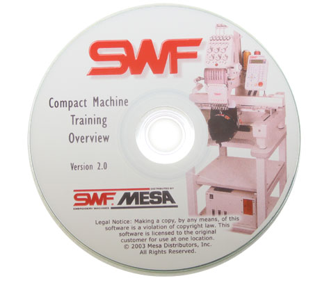 Training Disk For The Swf Compact Single Head Embroidery Machines B