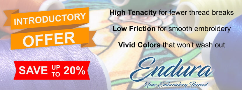 Endura Fine Embroidery Thread Introductory Sale